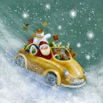 618-santa-friends-yellow-car